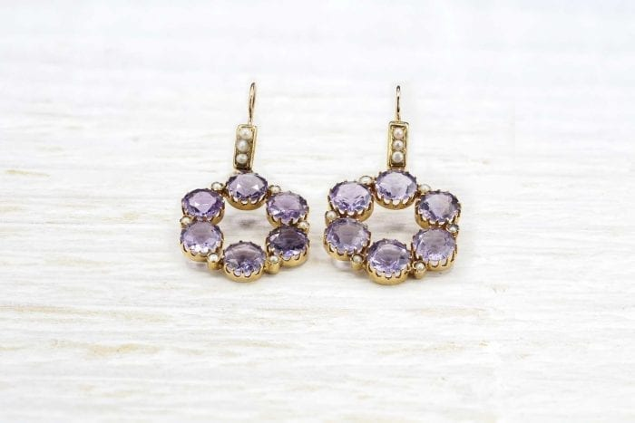 Amethyst and fine pearl earrings