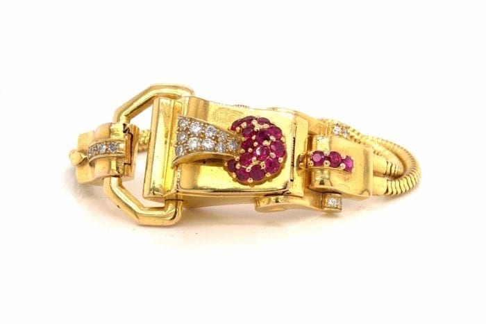 Antique gold watch with rubies and diamonds