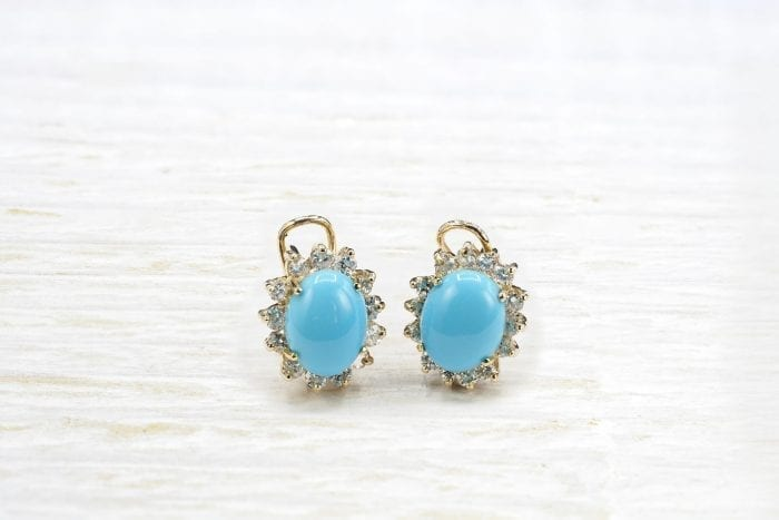 turquoises earrings in 18k gold