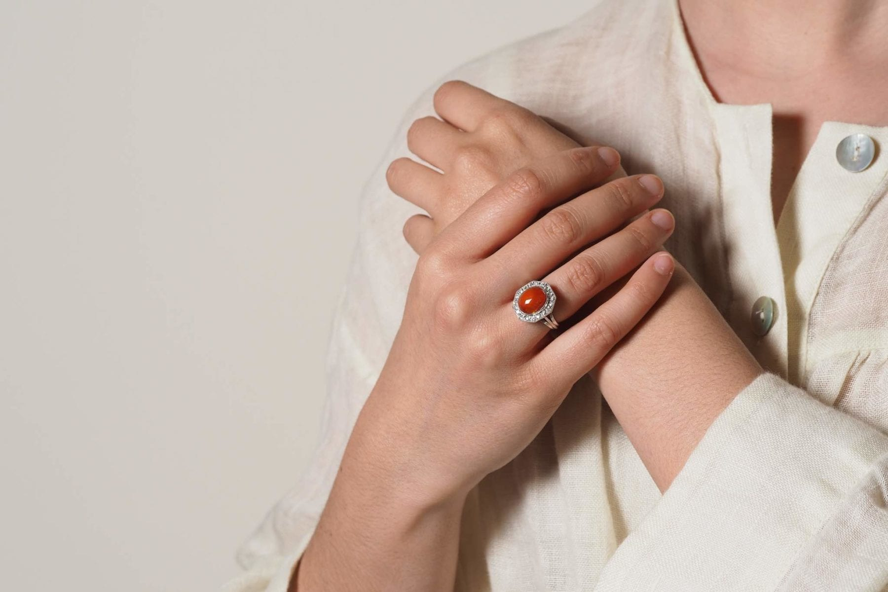 fire opal ring with diamonds