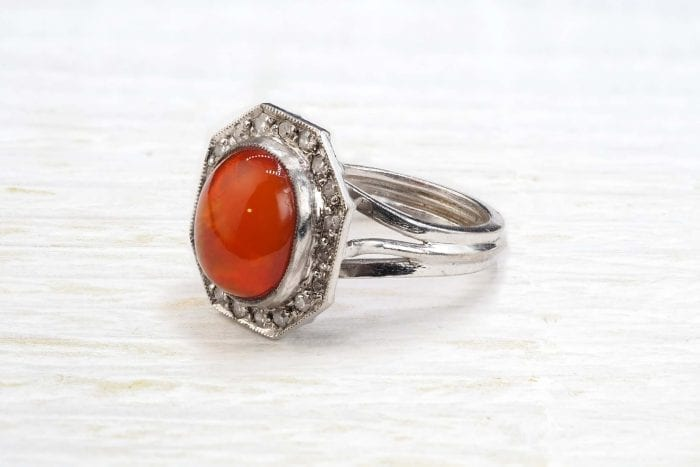 Antique fire opal ring with diamonds