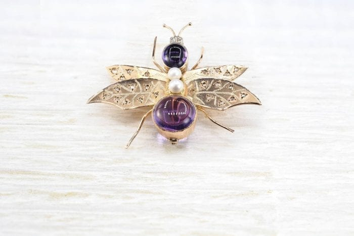 Insect brooch with amethyst beads and diamonds