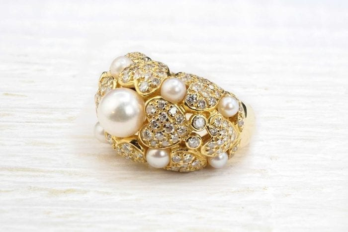 chanel-style diamonds pearls diameter and small pearls