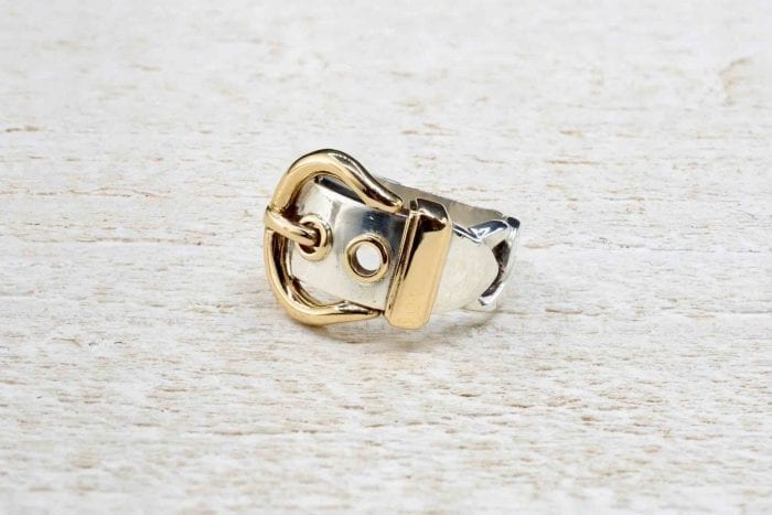 Hermés ring in 18k yellow gold and silver