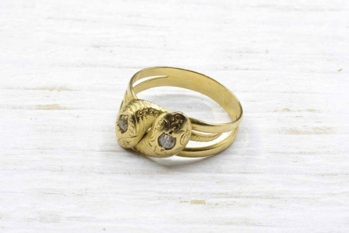 18K yellow gold snake and diamond ring