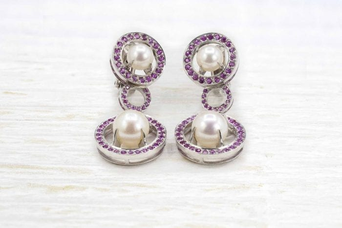 Pink sapphire and cultured pearl earrings in 18k gold