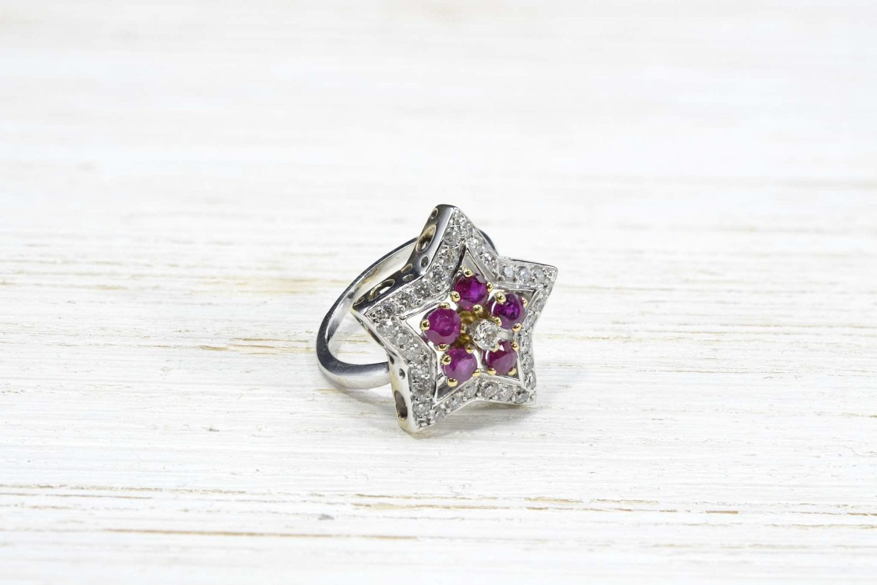 white gold and rubies ring