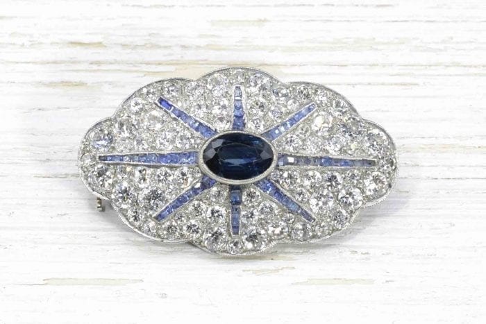Antique brooch with diamonds and sapphire