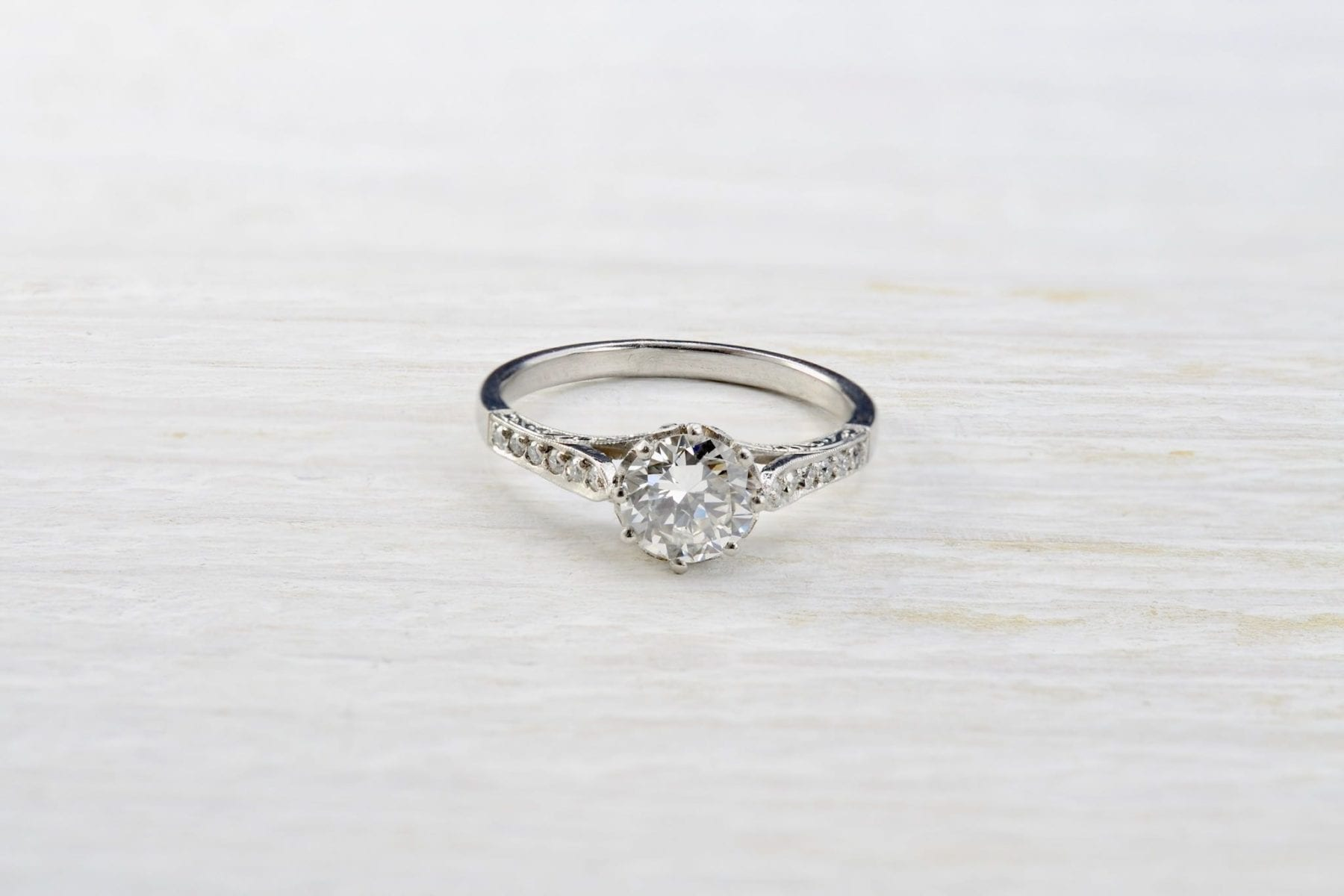 solitaire diamond ring in platinum