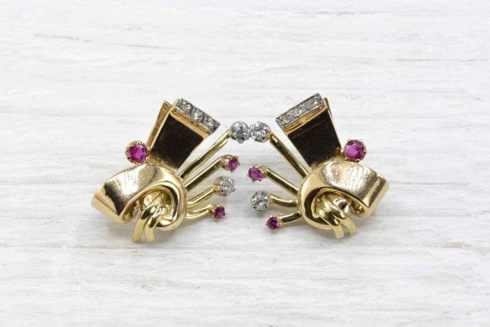 Earrings clips from 1940 with rubies and diamonds