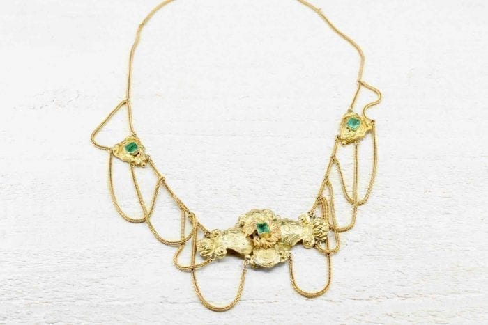 Antique gold emerald necklace