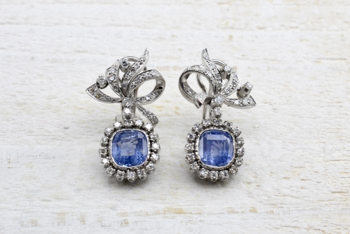 1970´s sapphires earrings in 18k white gold