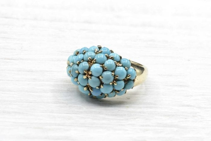 Turquoise dome ring in 18k yellow gold