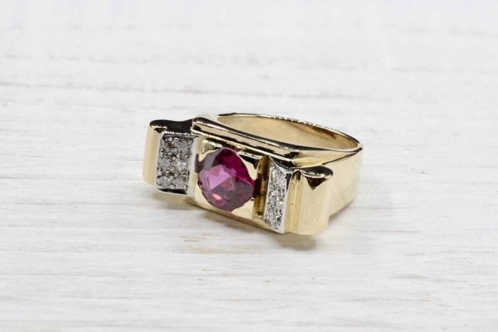 Synthetic ruby tank diamond ring in 18k yellow gold