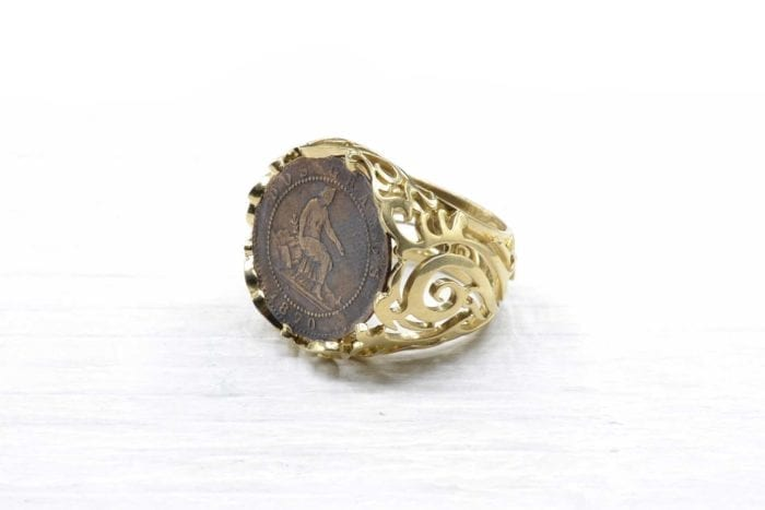 18k yellow gold coin signet ring