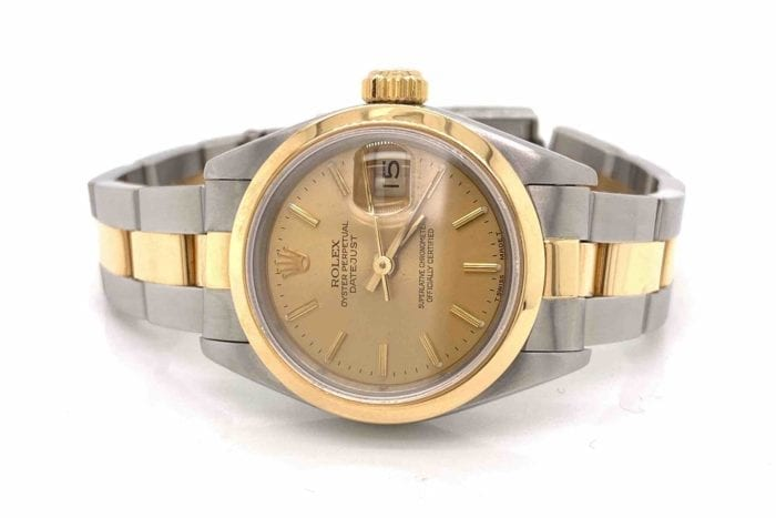 Rolex oyster watch for women in gold and steel