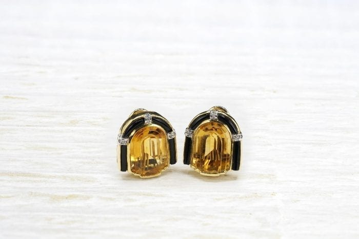 Art Déco and citrine earrings