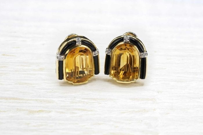 Citrine earrings in Art Deco style