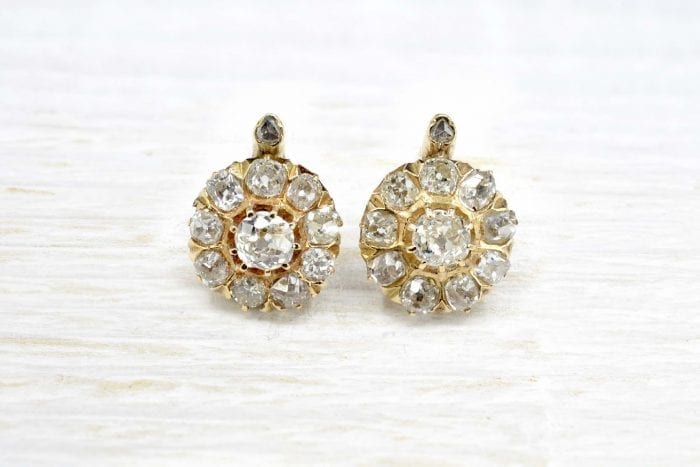 Antique diamond earrings in 18k yellow gold