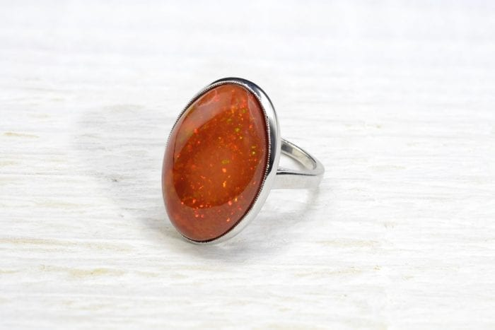 Fire opal ring in 18k white gold