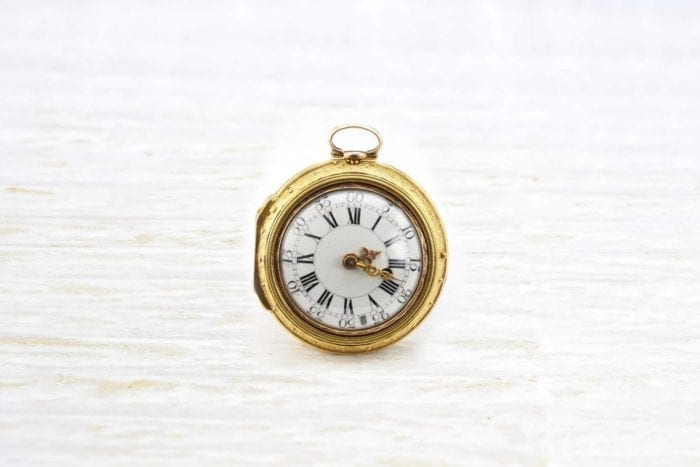 Antique gusset watch by Tavernier enamel and 18k yellow gold