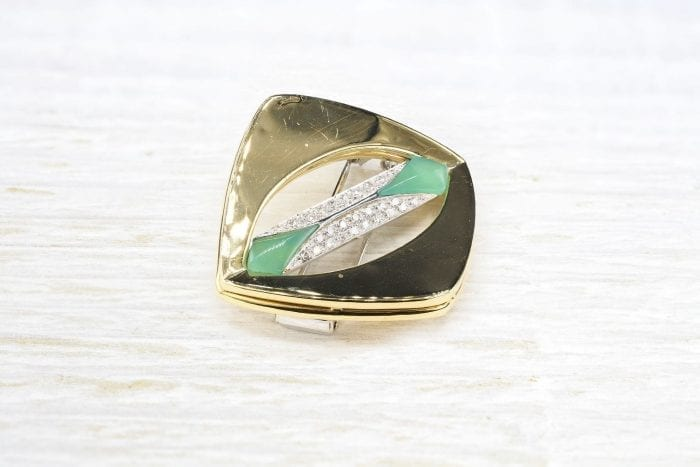 1970's brooch in 18k yellow gold and diamonds