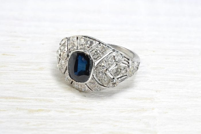 Art Deco Sapphire and Diamond Ring in 18k White Gold