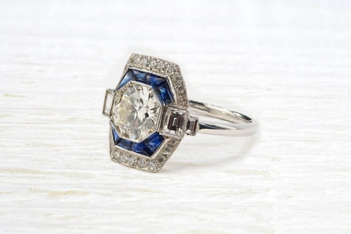 Octagonal diamond ring with sapphires