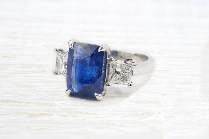 Unheated Ceylon sapphire ring with princess-cut diamonds