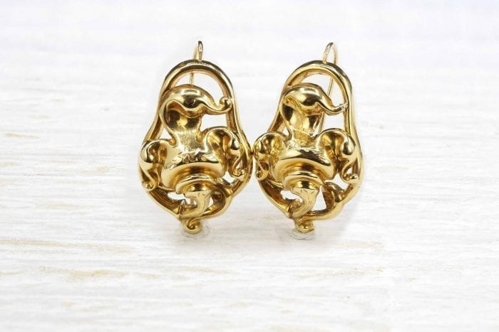 19th century earrings in 18k yellow gold