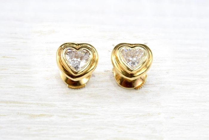 18k yellow gold diamond heart earrings