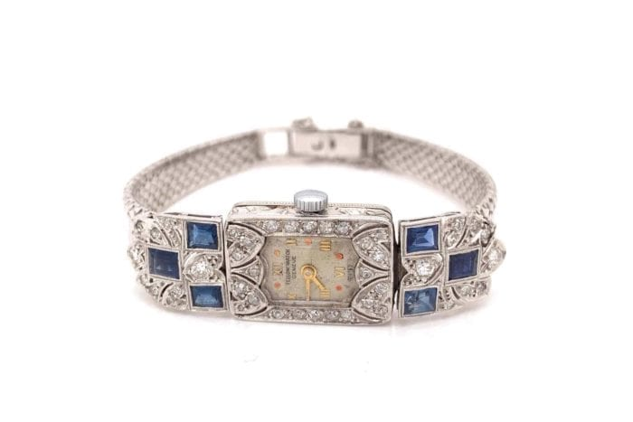 Art Deco sapphire and platinum diamond watch