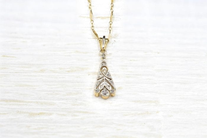 18k yellow gold antique pendant chain