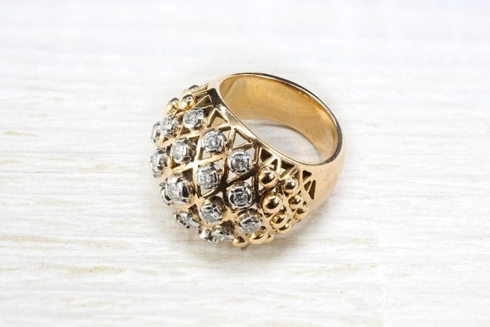 1950´s ring with 18k yellow gold diamonds