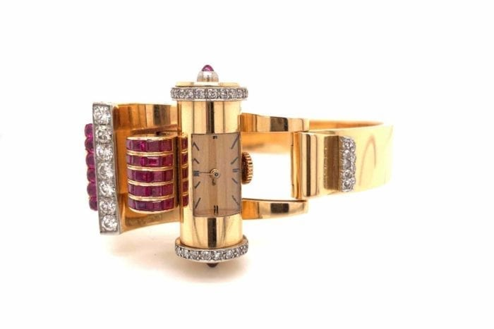 Tank watch with rubies and 18k gold diamonds