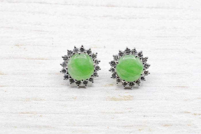 18k white gold jade and diamond earrings