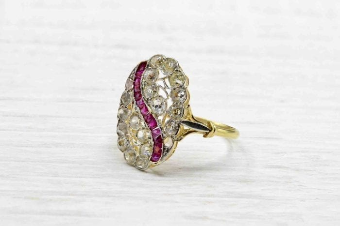 18k yellow gold vintage diamond and ruby ring
