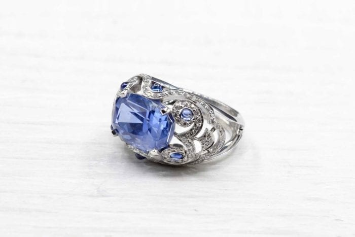 Sapphire and diamond dome ring in 18k white gold