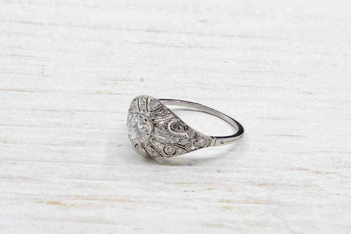 Vintage platinum diamond bandeau ring