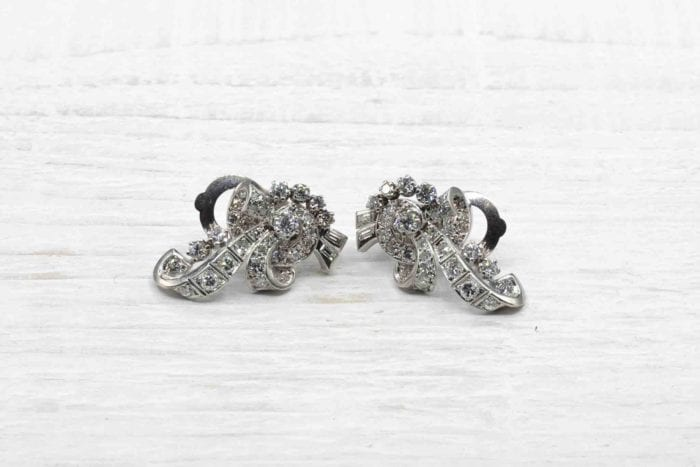 1950's diamonds earrings in 18k white gold