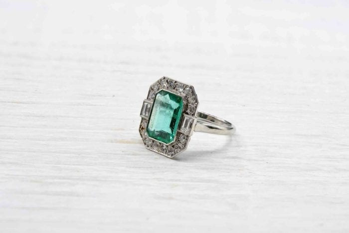 Emerald ring and platinum vintage diamonds