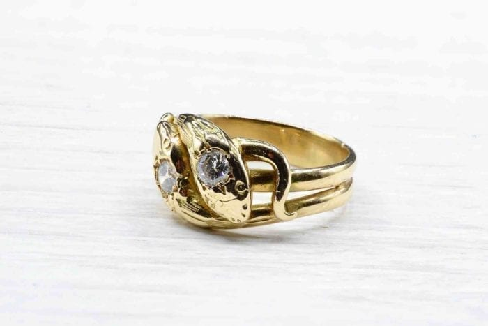 Double diamond snake ring in 18k yellow gold
