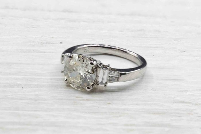 1.80 carat diamond solitaire ring in 18k white gold