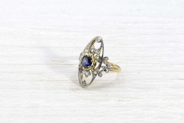 1900´s sapphire and diamonds roses ring