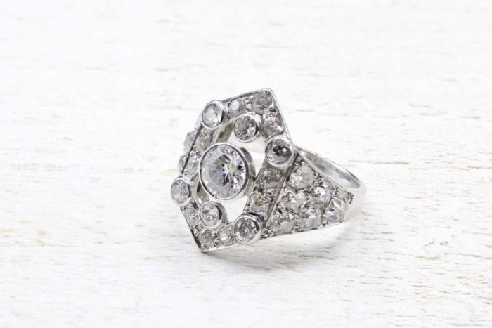Art Deco platinum rhombus diamond ring