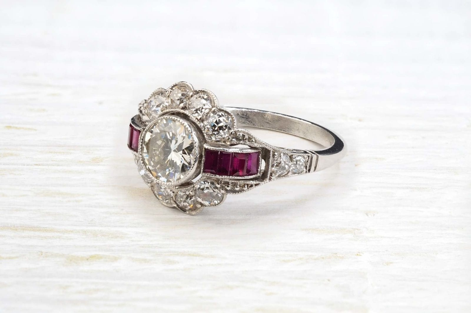 art deco rubies diamond ring