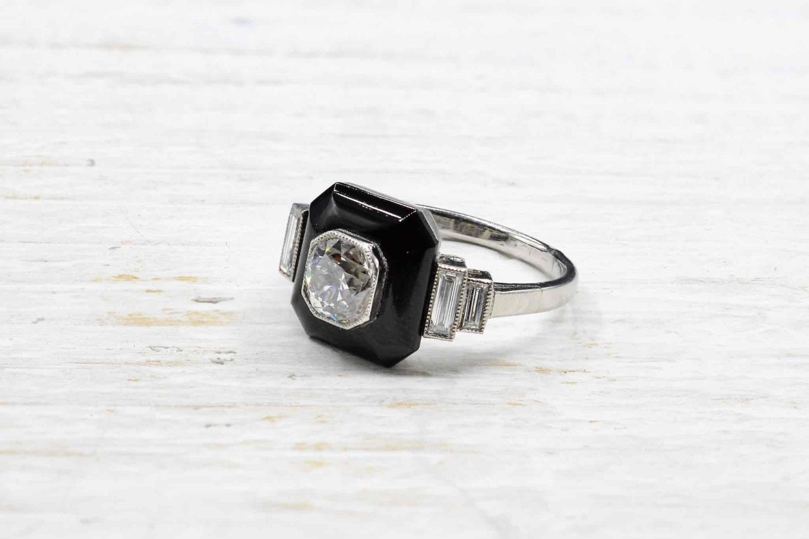 Bague onyx et diamants